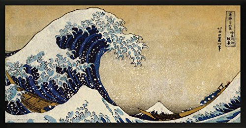Culturenik Katsushika Hokusai The Great Wave Japanese Fine Art Print (Framed 12x24 Poster)