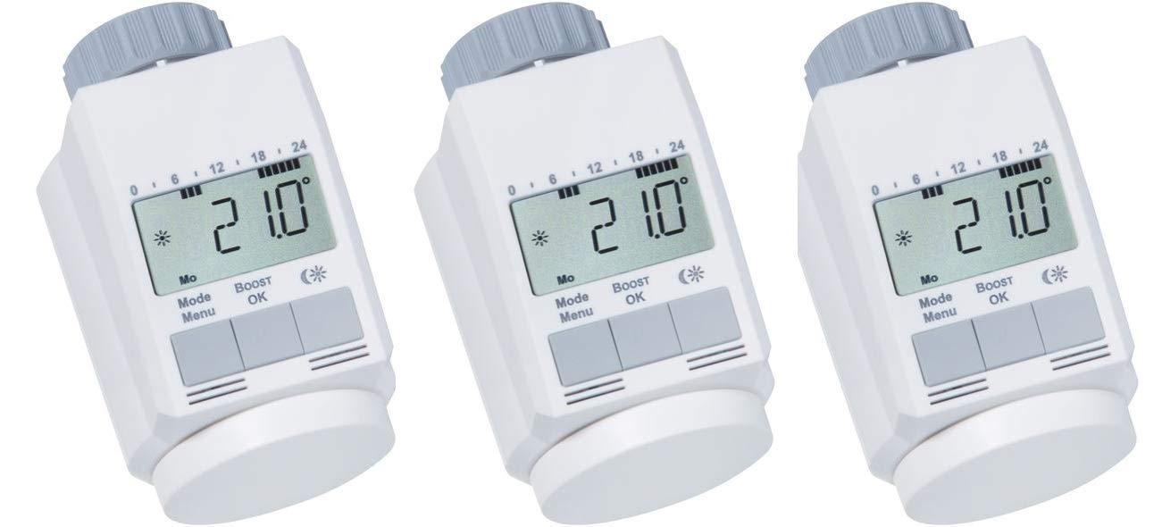 eQ-3 Classic L Lot de 3 thermostats pour radiateur avec fonction de ré duction du temps de chauffe Modè le discret eq3