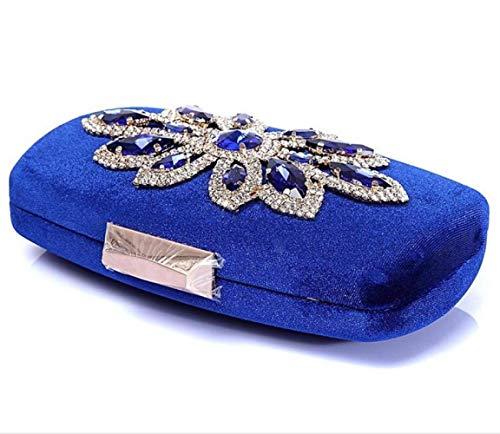 Vestido Tendencia Azul Identificación Hombro De Titular Personalidad Tarjeta Las Señoras La Bolso Honor Banquete Diagonal Rhinestone Dama Boda Novia Monedero Embrague Joker Moda T1ZBPx