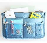 Nylon Handbag Insert Comestic Gadget Purse Organizer, Expandable w/ Handles (Blue)