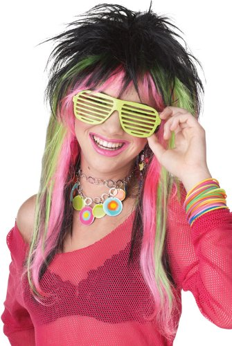 California Costumes Lime Pink Rave Candy Wig, Black/Lime/Pink, One -