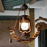 DMMSS Glass Bamboo Button-Style Pendant Village Kerosene Lamp Lighting Creative Bamboo Lamp Antique Western Restaurant Cafe Bamboo Vintage Lamp Chandelier Space 5-10 Square Meters (46 85Cm)