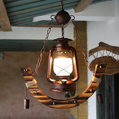 DMMSS Glass Bamboo Button-Style Pendant Village Kerosene Lamp Lighting Creative Bamboo Lamp Antique Western Restaurant Cafe Bamboo Vintage Lamp Chandelier Space 5-10 Square Meters (46 85Cm) by DMMSS Lamp