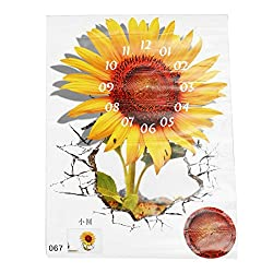 SODIAL(R) DIY 3D Art Wall Sticker Sunflower Clock Sticker Office Home Wall Decor Gift 18x15