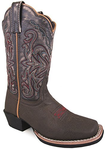 Smoky Mountain Childrens Fusion 2 Square Toe Brown/Vintage Black Western Cowboy (Western Cowboy Vintage Brown Boot)
