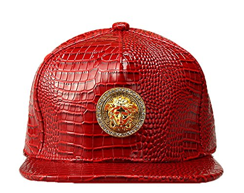 NUKI Alligator grain Diamond Medusa 3D Metal Logo Serpentine Hat Baseball Cap[Red]