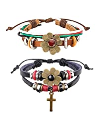 Natural Feelings Vintage Braided Leather Charms Bracelet For Men Women Adjustable Wrist Cuff Wrap