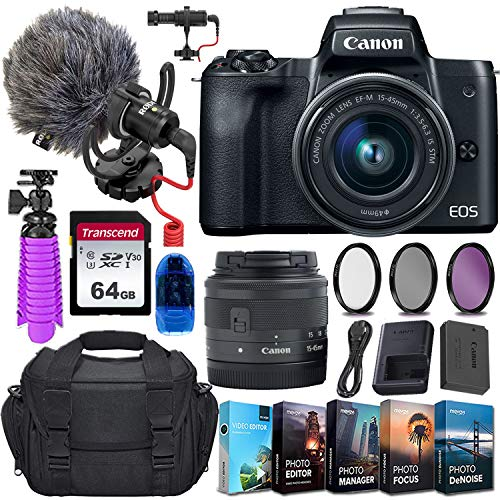 Canon EOS M50 Mirrorless Digital Camera (Black) and 15-45mm STM Lens w/Rode VideoMicro Compact On-Camera Microphone + 64GB Transcend Memory Card, Camera Bag & More Essential Accessory Bundle
