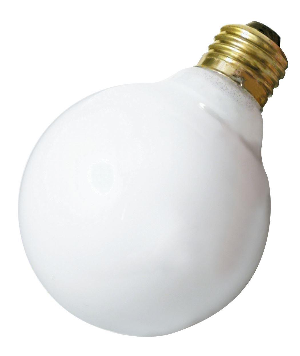 Satco 40G30/W Incandescent Globe Light, 40W E26 G30, Gloss White Bulb [Pack of 6]