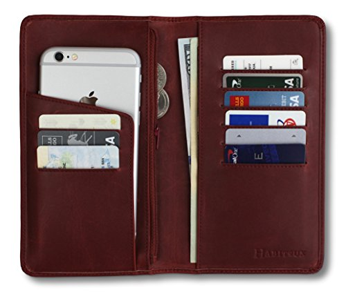 Women Slim Passport Card Holder Wallet (Red) - 4