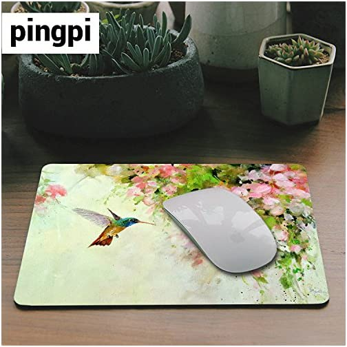 Gaming Mouse Pad Custom Design Mat, Lovely Hummingbird and Pink Flowers Oil Painting Art,9.5 X 7.9 Inch (240mmX200mmX3mm… |