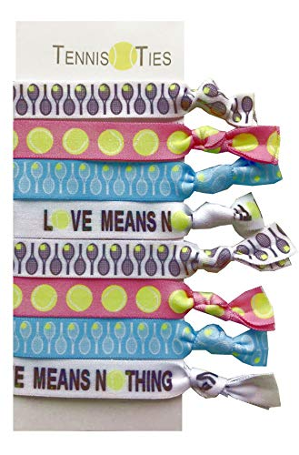 8 Piece Tennis Hair Elastic Set - Accessories for Players, Women, Girls, Coaches, Doubles Partners, High School Tennis Teams, Women's Leagues -MADE in the - Players Women