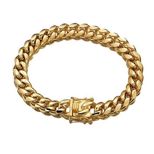 - Jewelry Kingdom 1 Mens Bracelet 18K Gold Chain Cuban Link Chain for Men's Jewelry, Bracelets for Women, Top 316L Stainless Steel(8inches Length, 12MM Width Bracelet)