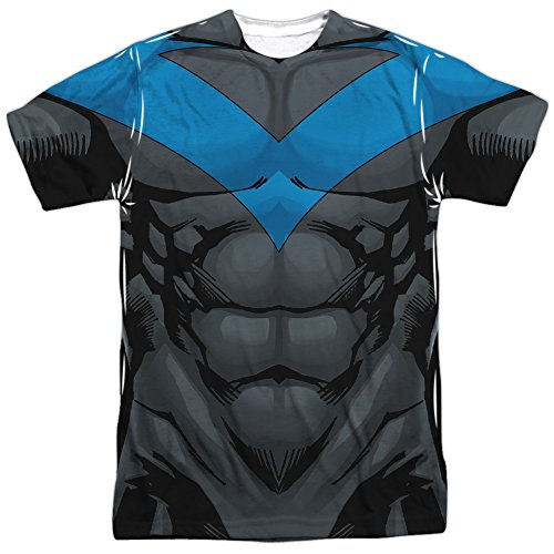 [Nightwing Blue Costume -- Batman All-Over Front/Back T-Shirt, Medium] (Nightwing Halloween Costumes)