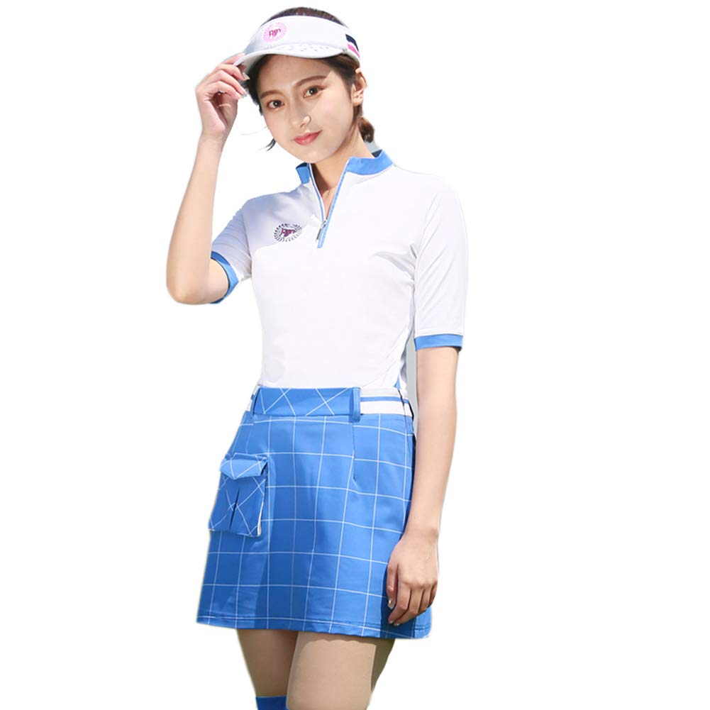 Tenflow ゴルフウェア レディース 上下セット ポロシャツ ミニスカート 女性用 半袖 021-xsty-tz008(M セット) M セット B07CZFZ9WP