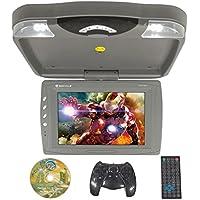 Rockville RVD13HD-GR Grey 13 Flip Down Car Monitor w DVD/HDMI/USB/SD/Games Gray