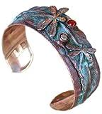 Dragonflies on Feather Cuff Bracelet - Semi-Precious Stones
