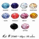 Wholesale Lot 60 pcs Swarovski Rondelles Crystal Beads 6mm #5040. 10 colors (#1).