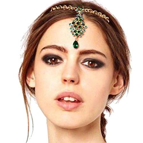 LittleB Emerald&Rhinestones Headbands Peacock Pendant Hair accessories For Women and Girl. (Emerald Headband Crystal)