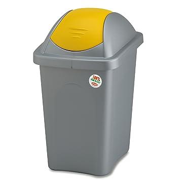 Favorit Großer Mülleimer 60 Liter mit gelbem Schwingdeckel robust und KG61