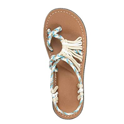 dc3956cff Nicetage Womens Flat Sandals Woven Braided Open Toe Cross Strap Shoes  HS265-186-Beige
