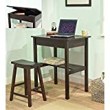 Simple Living Lincoln 45390ESP Compact Stylish Espresso Study Set (Desk and Stool)