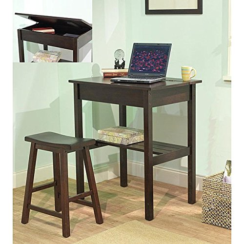 Simple Living Lincoln 45390ESP Compact Stylish Espresso Study Set (Desk and Stool) by Simple Living Products
