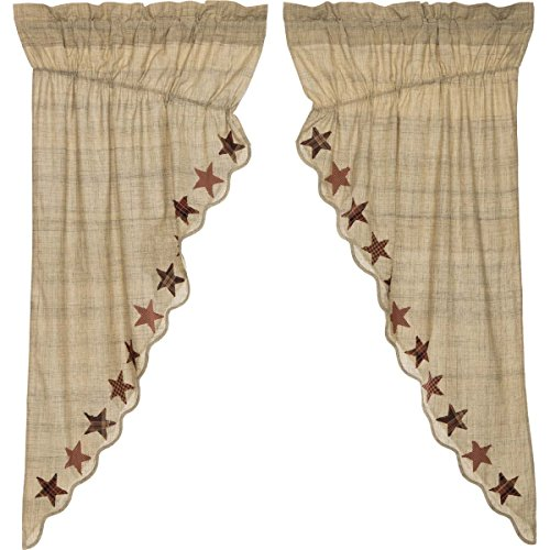 Company Prairie Star - VHC Brands Abilene Star Rod Pocket Prairie Curtain in White (Set of 2)