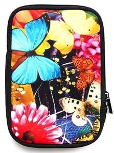 Flash Superstore Butterfly Garden Water Resistant Neoprene Soft Zip Case/Cover suitable for Sony PRS T1 eReader ( 7 Inch Tablet / eReader )