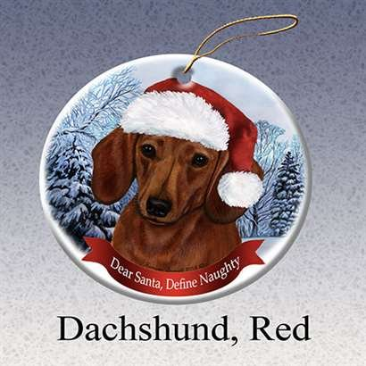 Pet Gifts USA Red Dachshund Dog Santa Hat Christmas Ornament Porcelain China U.s.a. Gift