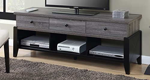 (Convenience Concepts 131325WGY Newport Yorktown TV Stand, 60-Inch, Weathered Gray / Black)