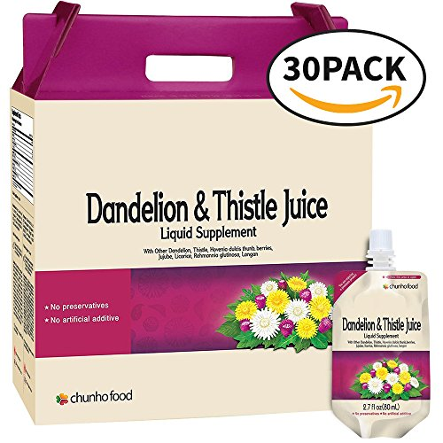 Chunho Food Dandelion & Thistle Juice Liquid Supplement. Helps Improve Liver Health, Enhance Immunity. No Preservatives and Artificial Additives. [30 Pack] ()