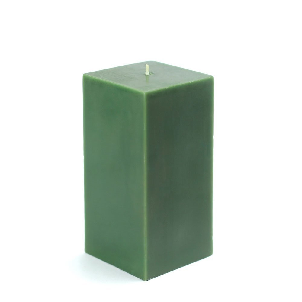 Zest Candle Pillar Candle 3 by 6-Inch Hunter Green Square CPZ-145