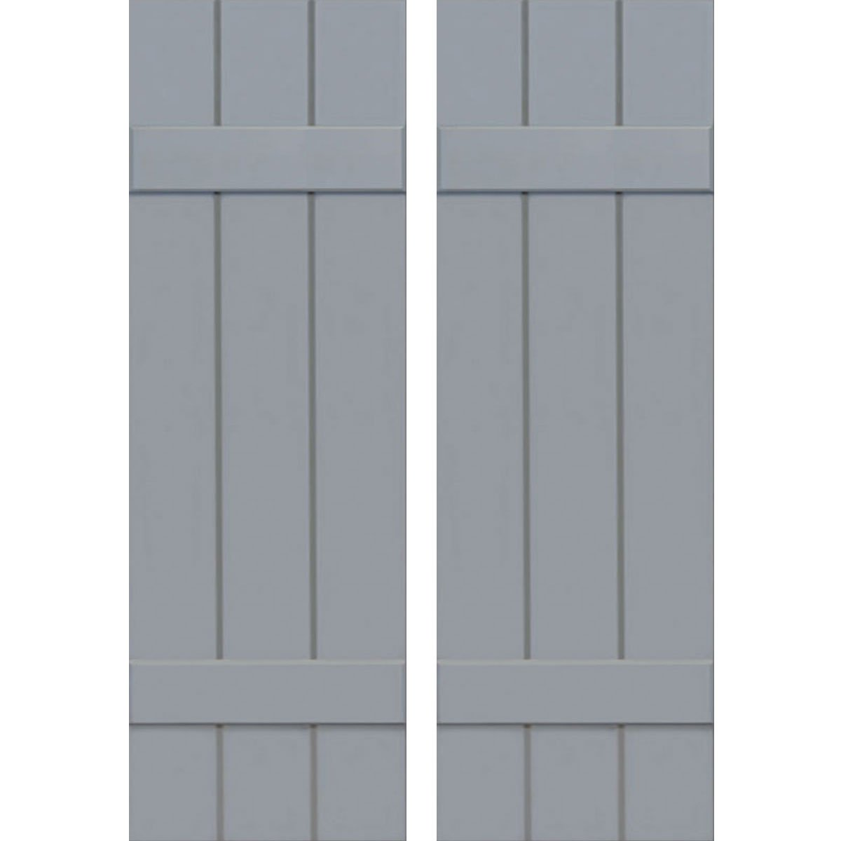 Ekena Millwork CWB12X028UNC Exterior Three Board Composite Wood Board-N-Batten Shutters with Installation Brackets (Per Pair), Unfinished, 12'' W x 28'' H