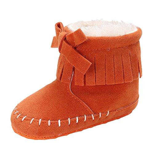 YiJee Baby Mädchen Modisch Bowknot Schuhe mit Mehr Villus Herbst und Winter Einfarbig Kinderschuhe mit Weiche Sohlen Orange