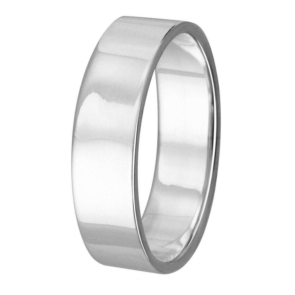 High Polished Sterling Silver 4MM Classic Flat Wedding Band Ring