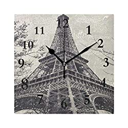 FunnyCustom Eiffe Tower Square Wall Clock 7.8 Inch Hanging Clock for Living Room/Kitchen/Bedroom