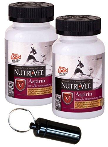 Nutri-Vet K-9 Aspirin 300mg for Medium & Large Dogs, 75ct w/Collar Address Carrier (Twin Pack, Black) ()