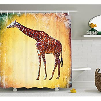 Giraffe Shower Curtain Set By Ambesonne, Vintage Style Giraffe Illustration  Watercolor African Animal Wildlife Safari