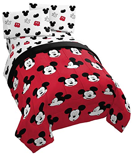 Jay Franco Disney Mickey Mouse Cute Faces Twin Comforter - Super Soft Kids Reversible Bedding - Fade Resistant Polyester Microfiber Fill (Official Disney Product)