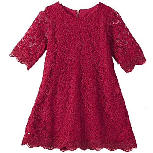 Baby Girl Flower Dresses White Princess Birthday Wedding Party Dress for Kids 1T Lace Flowy Knee Length Pageant Flower Tutu Tulle Spring Dress Formal Proms (Wine Red 100) ()