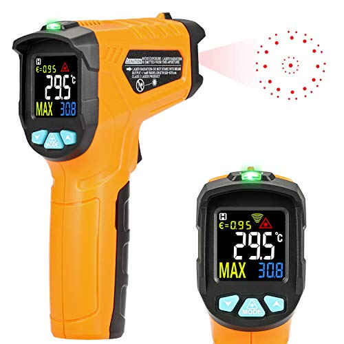 Infrared Thermometer Kasimir AD50 Digital Laser Non Contact Cooking IR Temperature Gun -58 F 1112 F with Color Display 12 Points Aperture for Kitchen Food Meat BBQ Automotive and Industrial