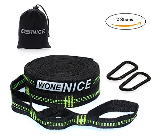 WoneNice Hammock Tree Straps - Combined 20 Ft Long 2000 LB Breaking Strength with 40 Loops, , 2
