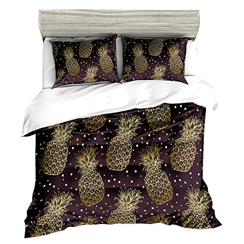HyUkoa Bronzing Pineapple Pattern Home Decorative Duvet Cover Gold Pineapple Bedding Sets 3 Pieces/US Queen Size,Without Comforter(1pc Duvet Cover+2pc Pillowcase)