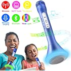Wireless Karaoke Microphone, Kids Microphone with Bluetooth Speaker, Karaoke Mic Portable Karaoke Player Machine for Kids/Adult Home Party Music Singing Playing(Blue)