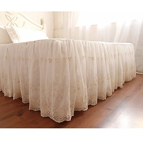 Brandream Queen Size Luxury White Lace Bed Skirt Romantic Girls Bed Sheets Elegant Teen Skirted Sheet by Brandream