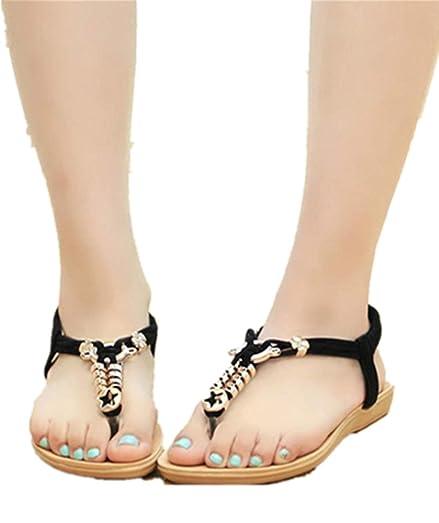 a3f3bad16a7e42 ... Inkach Women s Fashion Summer Bohemia T Strap Sweet Beaded Sandals Clip  Toe Beach Shoes Herringbone ...