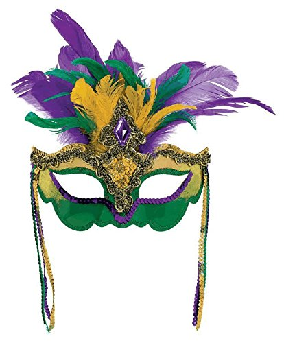 Funny Mardi Gras Costumes (Mardi Gras Feather Venetian Mask Costume Party Accessory, Fabric, 22