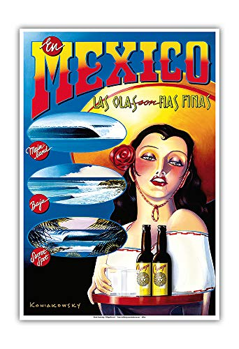 Canvas Reproduction Vintage Print - Pacifica Island Art - in Mexico The Waves are The Finest (Las Olas Son Mas Finas) - Surfing - Vintage Travel Poster by Wade Koniakowsky - Master Art Print - 13in x 19in