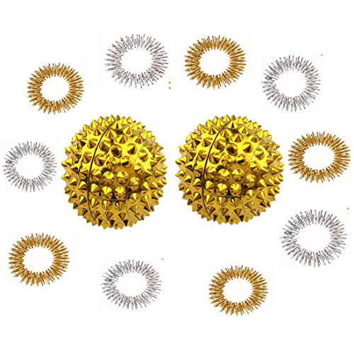 Winterworm 1 Pair Gold Metal Magnetic Hand Palm Acupuncture Ball Needle Massage Handball And 10 Gold Silver Finger Massage Rings Good For Health Blood Circulation Relief (Acupuncture Health Balls)